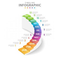 Infographic template for business. Modern Timeline diagram calendar with stair grantt chart.