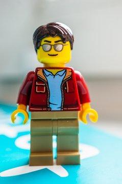POZNAN, POLAND - Apr 13, 2020: Lego man with sunglasses figurine.