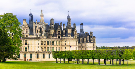 Chambord castle - masterpiece of Renaissance architecture. Famous Loire valley castles in France