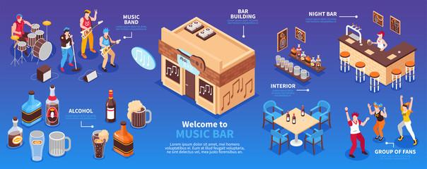 Music Bar Horizontal Infographics Illustration