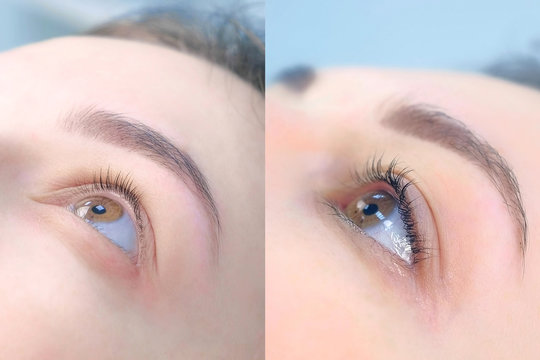 Face of young woman before and after lash laminating and painting eyebrows, side view. Closeup portrait of girl brunette in beauty clinic. Beauty industry concept.