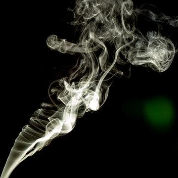 Abstract Smoke on black Background, white colour.