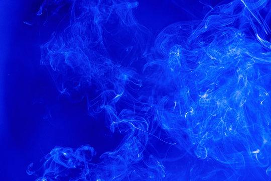 Abstract Smoke on black Background, bluecolour.
