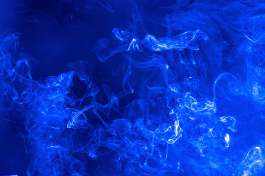 Abstract Smoke on black Background, blue colour.