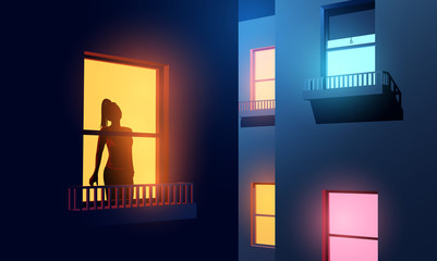 A women silhouetted looking out of her illuminated apartment window at night during Covid-19 lockdown. self-isolation and lockdown due to coronavirus. Vector illustration