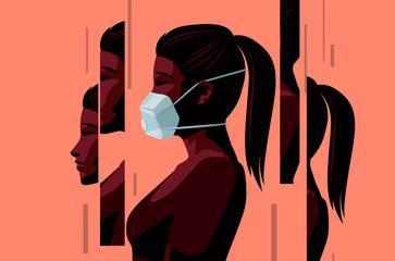 Wall Mural - A women wearing a face mask during the Covid-19 coronavirus outbreak and coming to terms with the new normal. Changed lives and mental health concept. Vector illustration