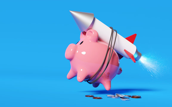 Super charging your savings. A pink piggy bank strapped to a rocket launching it into the air. Money and savings concept. 3D illustration.