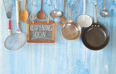 Restaurant display,announcing reopening after the corona lockdown,cooking, culinary concept on...