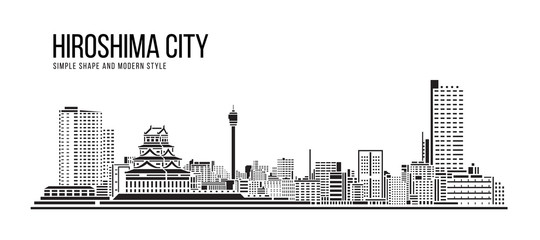 Cityscape Building Abstract Simple shape and modern style art Vector design - hiroshima city