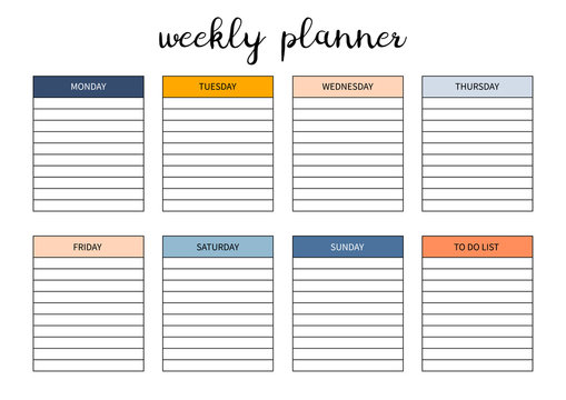 Weekly planner for diary, organiser, notebook. Printable A4 planner. Vector Illustration.