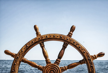 Canvas Prints Ship Old Vintage Wooden Helm Wheel