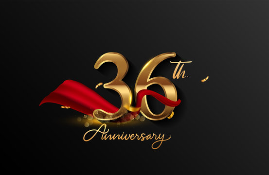 36th anniversary logo with red ribbon and golden confetti isolated on elegant background, sparkle, vector design for greeting card and invitation card.