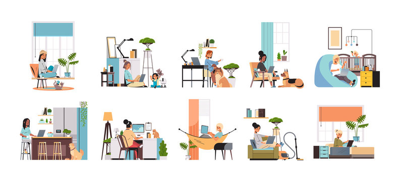 set mix race women freelancers using laptop working at home during coronavirus quarantine self-isolation freelance social distancing concept horizontal full length vector illustration