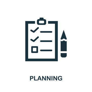 Planning icon. Simple illustration from startup collection. Creative Planning icon for web design, templates, infographics and more