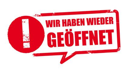 Stempel Eröffnung - Wiedereröffnung - vektor illustration mit Symbol und der Aufschrift: Wir haben wieder geöffnet - german label Fotobehang