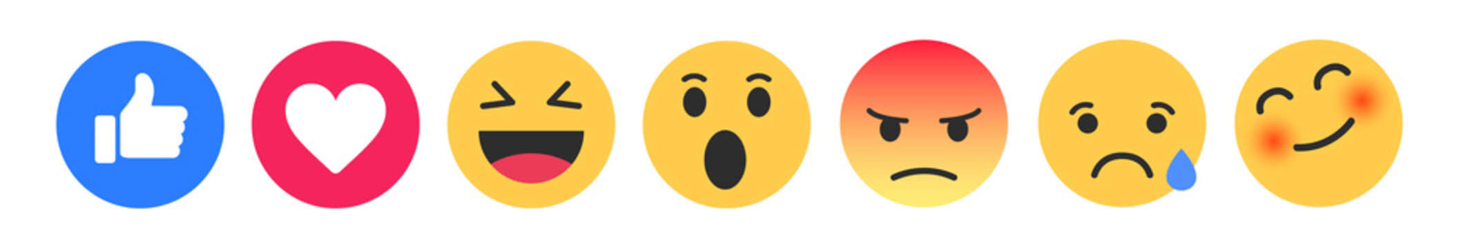 Set of cute smiley emoticons, emoji flat design for facebook