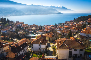 View to  the Lake Ohrid from the historic city center, North Macedonia Fotomurales