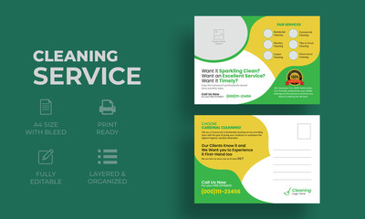 Cleaning Service Postcard Template | Creative Modern  Postcard Template for Cleaning Service Company