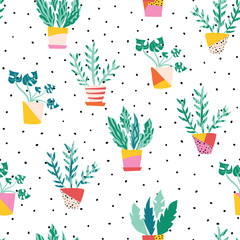 Indoor plants in colorful ceramic pots seamless vector pattern. Repeating background with potted plants flat Scandinavian style. Room plants design. Use for fabric, wallpaper, wrapping
