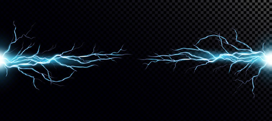 Lightning bolts realistic vector illustration. Powerful thunderstorm electricity discharge isolated on transparent background. Blue thunderbolt flare. Stormy weather symbol design element
