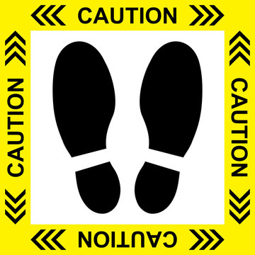 Vector of Yellow CAUTION Practice Social Distancing sign and symbols for People stand in designated areas in an elevator as a social distancing - Social Distancing sign concept.