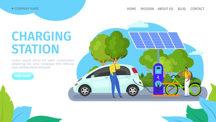 solar charging station for electric vehicles vector illustration. Electric car and bicycle replenish energy by charger station, alternative electricity generation. Environment friendly transportation.