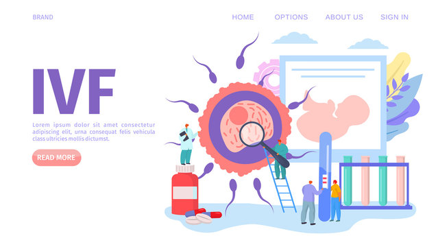 IVF medical fertility concept, webpage vector illustration. Gynecology healthcare, alternative way for pregnancy in hospital laboratory. Man and woman doctors research fertilized egg.