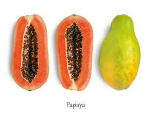 Wall Mural - Half of ripe papaya isolated