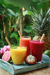 Wall Mural - Dragon fruit, papaya and mango smoothies