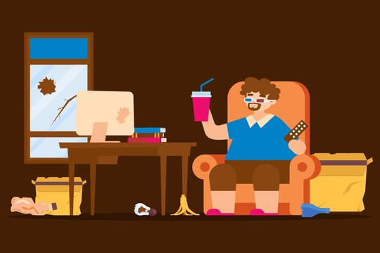 Fat lazy man lifestyle, sitting state vector illustration. Obese character man in dirty room, irresponsible attitude to his body and home. Broken window, trash on floor, watching movie.