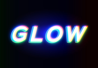 Glow Text Effect Mockup
