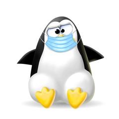 Fototapete - pinguino con la mascherina