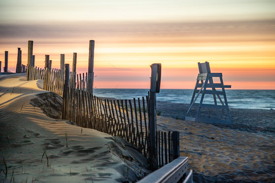 Empty beach at Beach Haven, NJ at sunrise