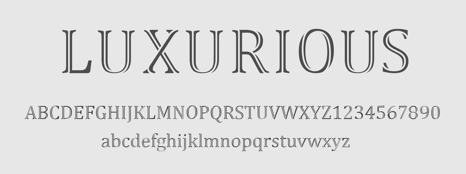 luxurious font and numbers design.Typography fonts regular uppercase, lowercase. vector illustration