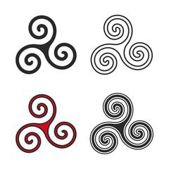 triskelion symbol flat and line style vector illustration
