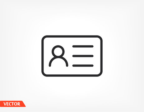 Identification card outline icon isolated on background. Identification card , Identification card logo,. Editable stroke. Vector illustration. Eps 10 Identification card
