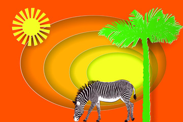 Africa landscape with silhouette of zebra, sun and palm tree. Paper cut shapes and layers style