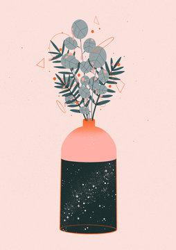 Illustration of flowers in bottle