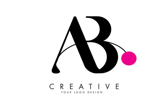 Handwritten AB A B letters logo design with a pink dot.