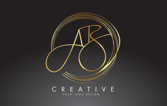 Handwritten Golden AB A B Letters Logo with a minimalist design. AB A B Sign with Golden Circular Circles.