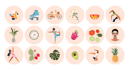 Healthy lifestyle icon set. Big collection of modern hand-drawn vector stickers about fitness and healthy living. Different icons with girls doing yoga, fruits and vegetables, and sport activities.
