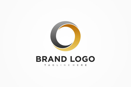 Abstract Initial Letter O Logo. Black Gold Circular Waves Style. Usable for Business and Technology Logos. Flat Vector Logo Design Template Element.