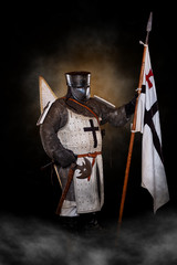 Crusader, Templar Standing with flag