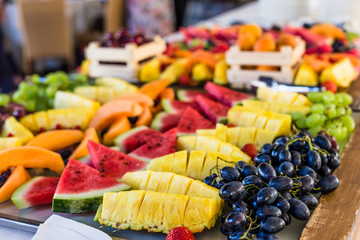 Assortment of fresh fruit salad platter