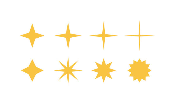 Sparkles icons isolated on white background. Shine, twinkle flat icons set. Vector illustration