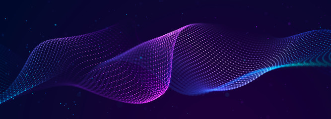 Futuristic wave on dark background. Colored pattern of connection dots and lines. Technology Banner. 3D Widescreen