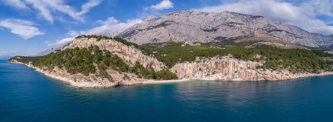 Panoramic aerial view of famous Nugal beach near the city of Makarska in Dalmatia, Croatia., which was proclaimed as one of the most beautiful beaches in Croatia. Fototapete