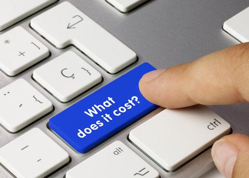 What does it cost? - Inscription on Blue Keyboard Key.