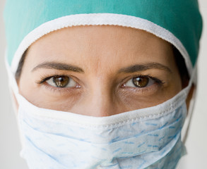 Close up of female doctor wearing surgical mask