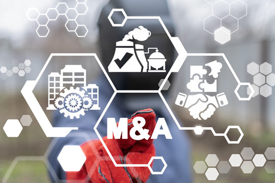 Mergers and Acquisitions Industry Business Cooperation. M&A Industrial Concept.